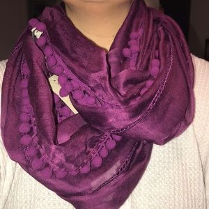 Brand New Ann Taylor Purple Circle Pompom Scarf